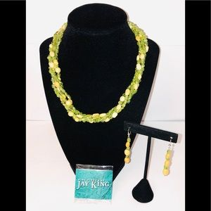 Jay King Peridot & Aragonite Necklace & Earrings